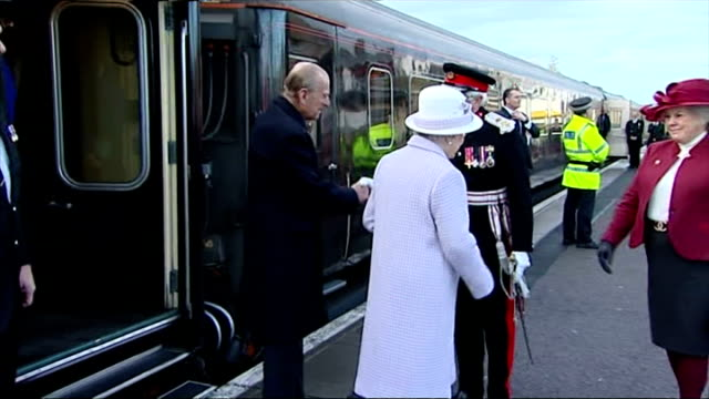 queen and prince philip's 67th wedding anniversary exterior shots of queen elizabeth and prince philip arriving by royal train at elgin station on... - elizabeth i of england stock videos & royalty-free footage
