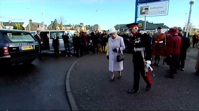 queen and prince philip's 67th wedding anniversary exterior shots of queen elizabeth ii in lossiemouth receiving flowers from little boy on november... - elizabeth i of england stock videos & royalty-free footage