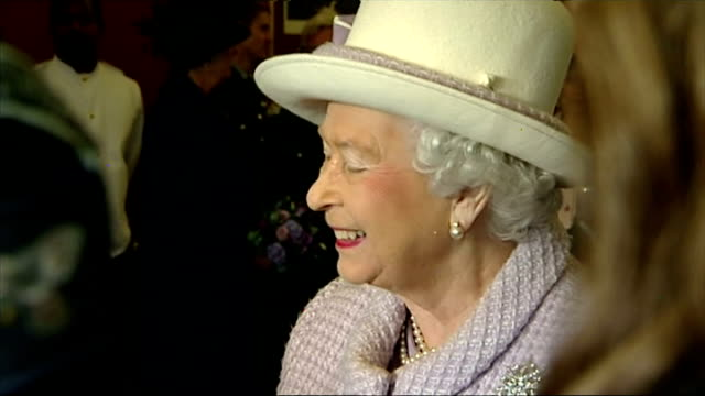 queen and prince philip's 67th wedding anniversary interior close up shots of queen elizabeth ii and prince philip duke of edinburgh talking to... - elizabeth i of england stock videos & royalty-free footage