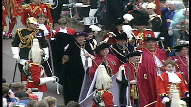 queen and royal family attend order of the garter ceremony england windsor windsor castle royals including queen elizabeth the queen mother queen... - ceremony stock videos & royalty-free footage
