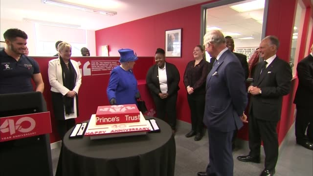 Queen and the Prince of Wales celebrate 40 years of the Prince's Trust Kennington Queen greeting man in wheelchair and chatting Queen and Charles...