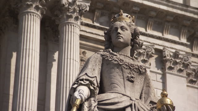 Queen Anne's statue outside St Paul's Cathedral in London England Available in HD.
