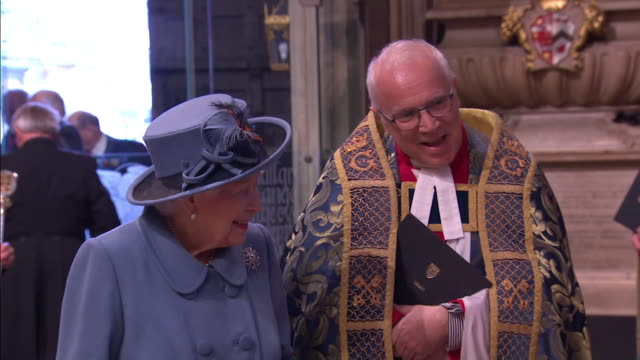 queen arrives inside westminster abbey for commonwealth day service and greets guests - service stock videos & royalty-free footage
