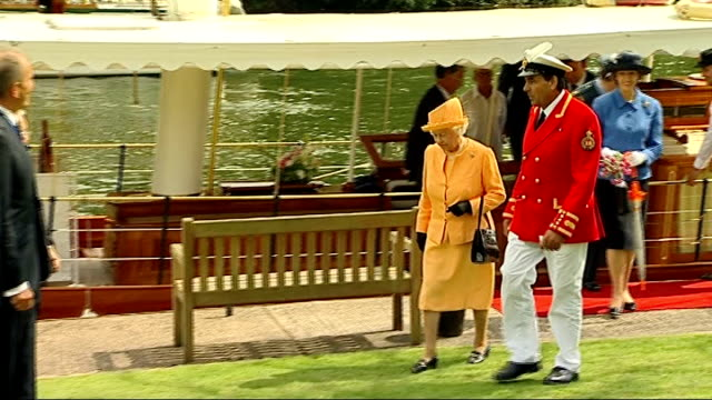 queen attends annual swan upping ceremony; queen departing boat with david barber and along to shake hands / queen being shown cygnet by barber and... - cygnet stock videos & royalty-free footage