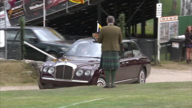 queen attends braemar gathering and opens new highland games pavilion scotland aberdeenshire braemar gvs new duke of rothesay highland games pavilion... - highland games stock videos & royalty-free footage