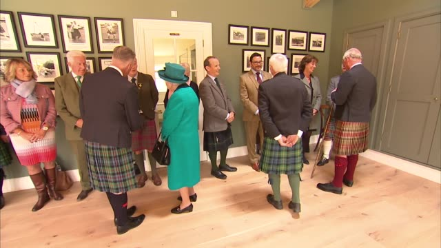 queen attends braemar gathering and opens new highland games pavilion scotland aberdeenshire braemar int queen elizabeth ii and prince charles being... - pavilion stock videos & royalty-free footage