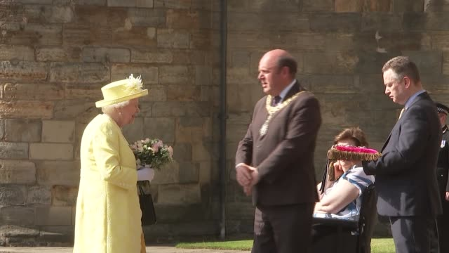 queen attends ceremony of the keys at the palace of holyroodhouse scotland edinburgh holyroodhouse ext queen elizabeth along with official to frank... - cushion stock videos and b-roll footage