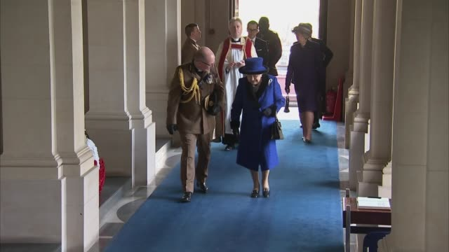 queen attends church service at wellington barracks and meets artist harry parker england london wellington barracks guards' chapel int close ups of... - gottesdienst stock-videos und b-roll-filmmaterial