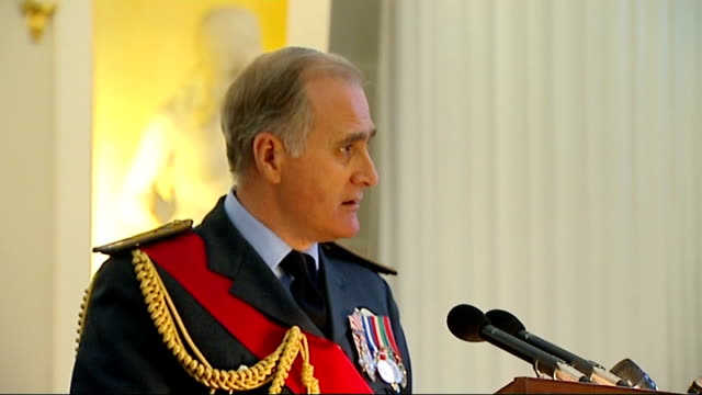 vídeos de stock, filmes e b-roll de queen attends mansion house lunch with iraq war veterans sir jock stirrup speech continued sot it came at high cost families had to endure frequent... - physical injury