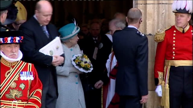 Queen attends Maundy Thursday ceremony in York Queen departure ENGLAND Yorkshire York EXT Yeomen of the Guard exit York Minster Cathedral Queen...
