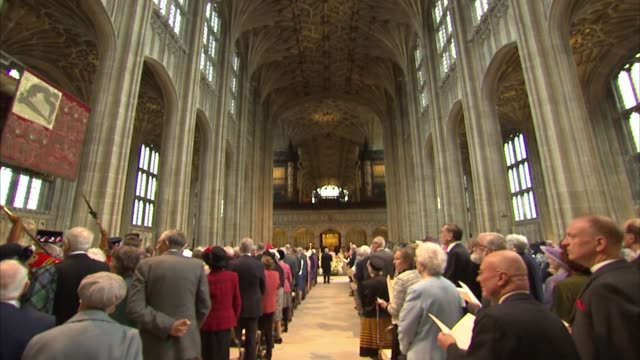 queen attends maundy thursday service at st george's chapel berkshire windsor st george's chapel int **music heard sot** guards in church /... - st. george's chapel stock videos and b-roll footage