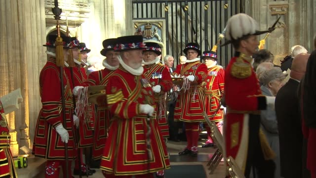 queen attends maundy thursday service at st george's chapel england berkshire windsor st george's chapel int **music heard sot** congregation /... - st. george's chapel stock videos and b-roll footage