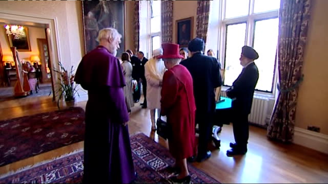 queen attends multifaith reception at lambeth palace gv queen greeting sikhs / gv queen and archbishop looking at artefact / cu sikh man / gv sikh... - torah stock videos and b-roll footage