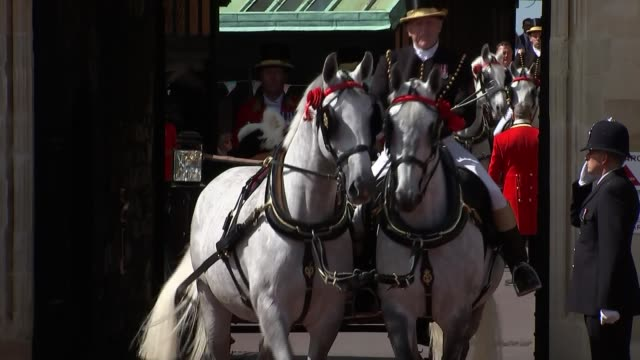 Queen attends Order of the Garter Service ENGLAND Berkshire Windsor Windsor Castle EXT Queen Elizabeth II in carriage with Prince Charles Prince of...