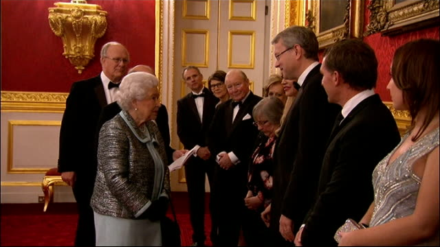 queen attends reception to mark 80th anniversary of diabetes uk england london st james's palace int display board outlining events in the 80 year... - grey jacket stock videos and b-roll footage