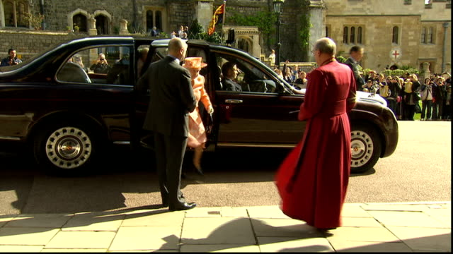 queen attends recital by royal college of organists england windsor castle st george's chapel ext queen elizabeth ii and prince philip duke of... - st. george's chapel stock videos and b-roll footage