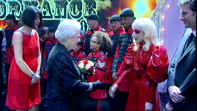 Queen attends Royal Variety Performance Queen meets British dance group Diversity Lady GaGa Katherine Jenkins Bette Midler Peter Kay and others BV...