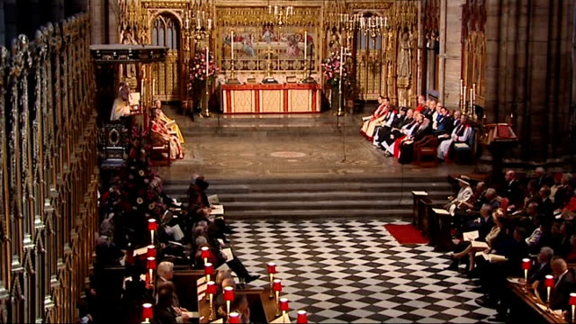 Queen attends service to mark 400th anniversary of the King James bible / Reverend Rowan Williams reading sermon in pulpit SOT / Queen Prince Philip...