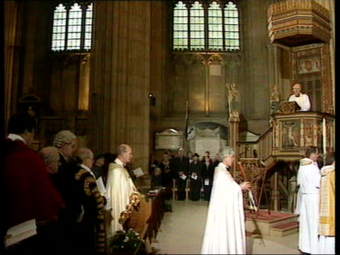 queen; bbc pool kent: canterbury: canterbury cathedral: archbishop of canterbury dr george carey in pulpit cms carey speech - will only be a more... - canterbury cathedral stock videos & royalty-free footage