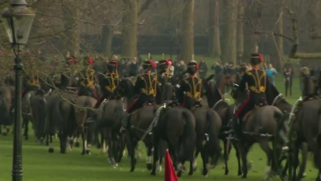 vídeos de stock, filmes e b-roll de queen becomes first british monarch to reach sapphire jubilee queen becomes first british monarch to reach sapphire jubilee england london green park... - parque green