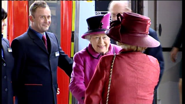 queen begins diamond jubilee tour of the uk ****some leicestershire leicester int queen elizabeth ii from train followed by prince philip and duchess... - レスターシャー点の映像素材/bロール