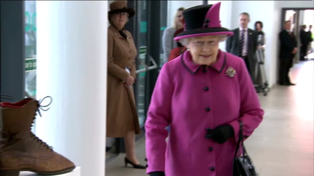 queen begins diamond jubilee tour of the uk queen being shown a pair of boots made in leicester for her grandmother queen mary - pair stock videos & royalty-free footage