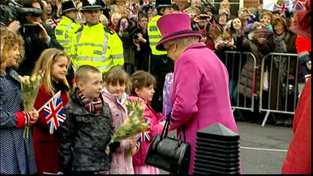 queen begins her diamond jubilee tour of the uk in leicester; england: leicestershire: leicester: leicester cathedral: ext queen, prince philip and... - diamantenes jubiläum stock-videos und b-roll-filmmaterial