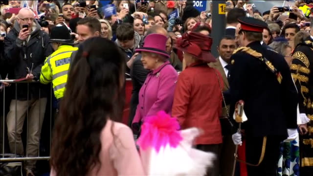 Queen begins her Diamond Jubilee tour of the UK in Leicester Queen shaking hands with dignitaries / Queen Prince Philip and Kate watching dancers and...