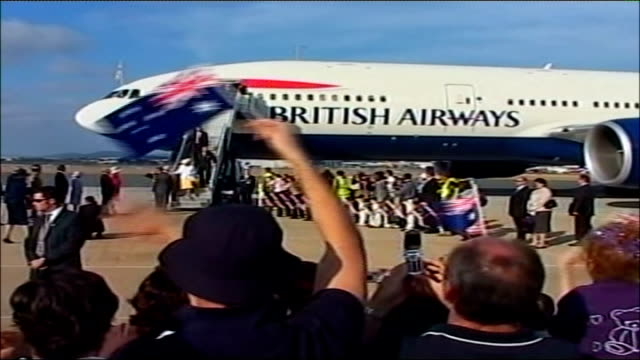 queen begins tour of australia; australia: canberra airport: ext queen elizabeth ii and prince philip, duke of edinburgh out of plane along down... - tarmac stock videos & royalty-free footage