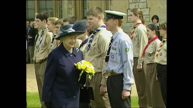 queen celebrates 76th birthday; england: berkshire: windsor castle: ext queen elizabeth ii and prince philip, duke of edinburgh inspect line of... - birthday stock videos & royalty-free footage