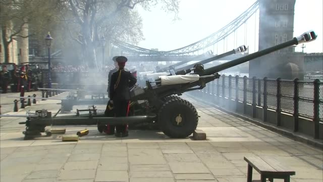 queen celebrates 92nd birthday: tower bridge gun salute; england: london: tower of london: ext various of tower of london gun salute to mark 92nd... - queen's birthday stock videos & royalty-free footage