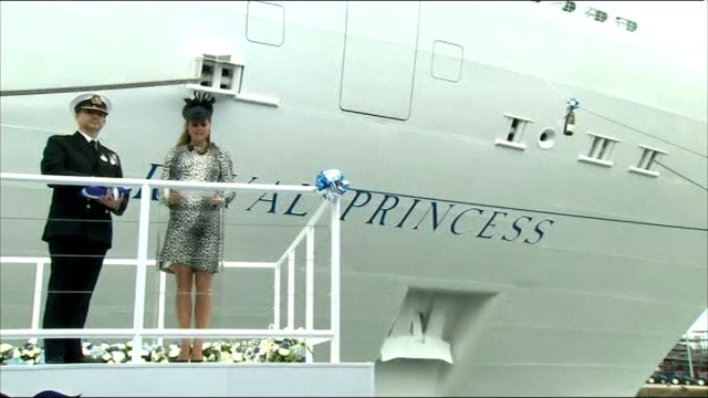 queen comments on royal baby on visit to cumbria tx southampton ext catherine duchess of cambridge looking heavily pregnant naming cruise ship 'royal... - southampton hampshire stock-videos und b-roll-filmmaterial