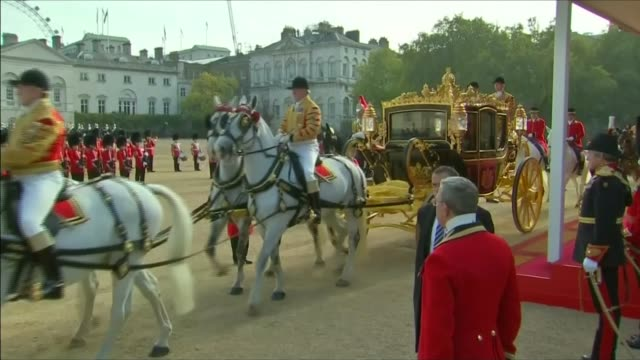 queen criticises chinese officials for being 'rude' lib / ext queen and xi jinping along in carriage - horse guards parade stock videos and b-roll footage
