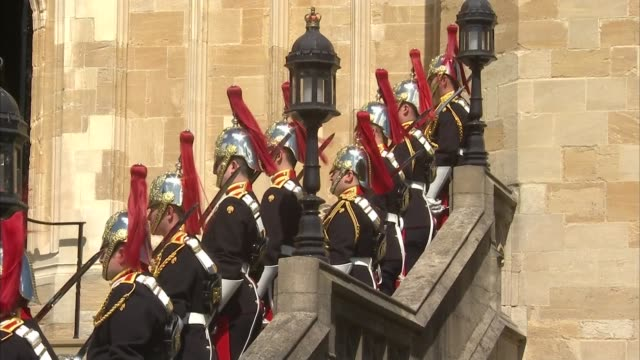 queen departs order of the garter service england berkshire windsor windsor castle ext **music and service heard sot** royal car towards / household... - religious service stock videos & royalty-free footage