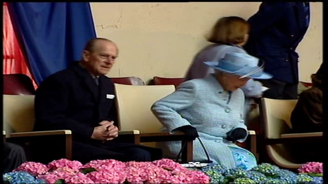 cadre noir horse display france paris jack straw mp sitting down for equestrian ceremony and standing as queen arrives queen elizabeth ii and prince... - jack straw stock videos & royalty-free footage