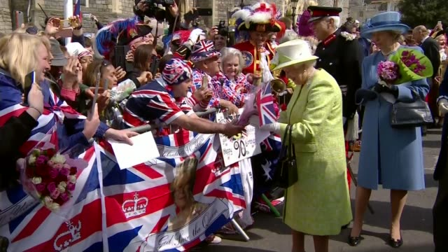 favourite songs revealed t21041633 england berkshire windsor queen elizabeth along during walkabout as military band plays 'happy birthday' sot - 90th birthday stock videos and b-roll footage