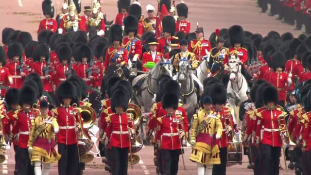 general views of trooping the colour **music heard in background sot** more of procession along the mall / horsedrawn carriage carrying queen... - princess michael of kent stock videos and b-roll footage