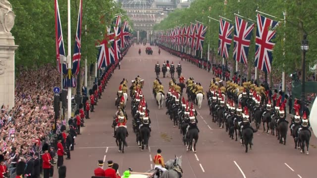 general views of trooping the colour horsedrawn carriage carrying queen elizabeth ii and prince philip duke of edinburgh along / queen and philip... - 90th birthday stock videos and b-roll footage