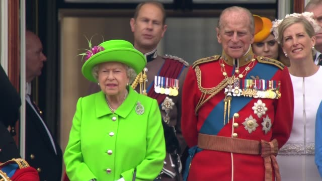 royals on the balcony of buckingham palace close shots england london buckingham palace ext queen elizabeth and prince philip duke of edinburgh out... - balcony stock videos & royalty-free footage