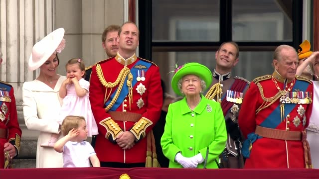 royals on the balcony of buckingham palace wide shots england london buckingham palace ext queen elizabeth and prince philip duke of edinburgh out... - queen royal person stock videos & royalty-free footage