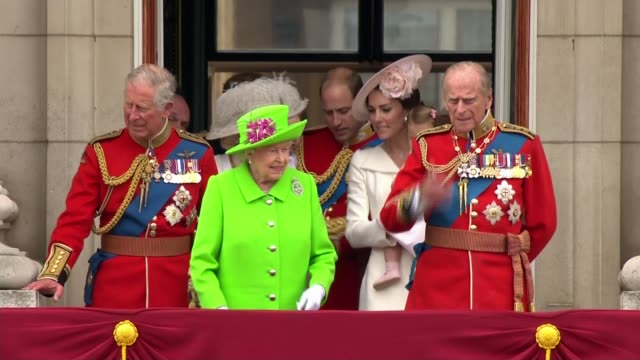 trooping the colour queen elizabeth and prince philip out onto buckingham palace balcony as crowd heard applauding and cheering sot various shots of... - queen royal person stock videos & royalty-free footage
