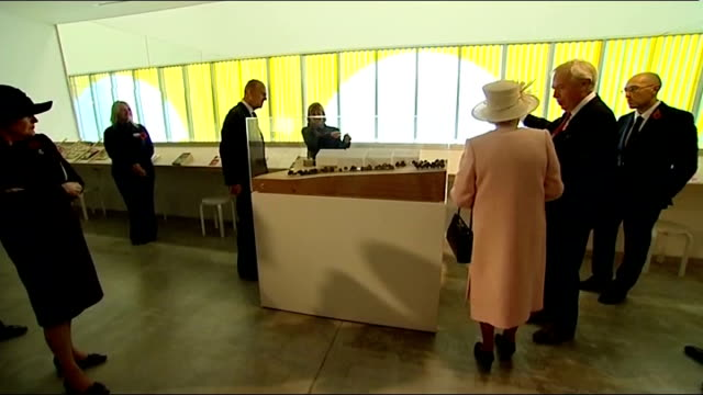 queen elizabeth and duke of edinburgh visit turner contemporary gallery in margate; queen entering gallery / various of queen meeting people in room... - british royalty stock videos & royalty-free footage