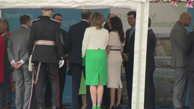 queen elizabeth and meghan duchess of sussex open mersey gateway bridge uk cheshire widnes queen elizabeth and meghan duchess of sussex at event to... - meghan duchess of sussex stock videos and b-roll footage