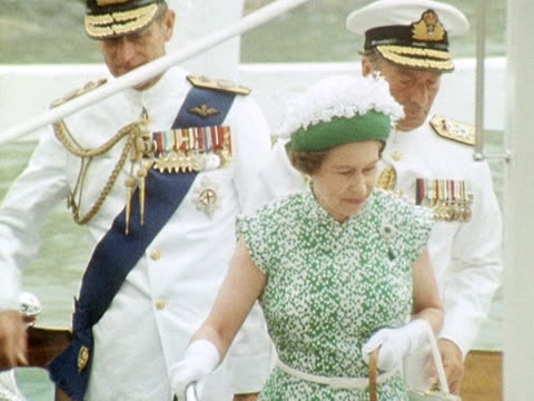 Queen Elizabeth and Prince Philip arrive in Auckland during her Silver Jubilee tour 1977
