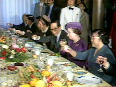 Queen Elizabeth and Prince Philip at a lunch with Chinese and British dignitaries at the Forbidden City October 1986