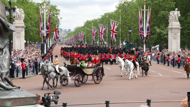 queen elizabeth and prince philip at the trooping the colour on the queen's official 90th birthday 2016 - 90th birthday stock videos and b-roll footage