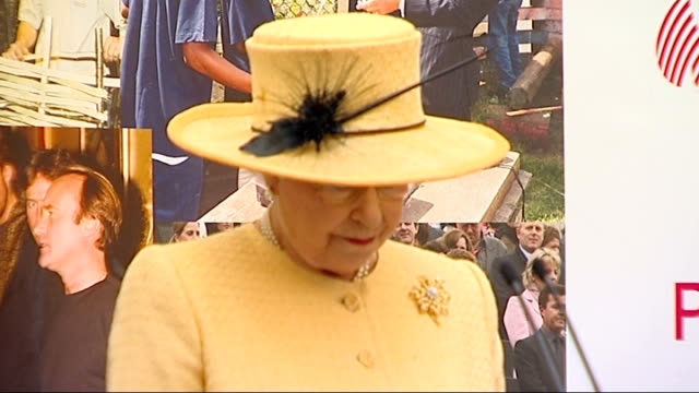 queen elizabeth and prince philip visit prince's trust; queen elizabeth speech sot - prince philip and i have greatly enjoyed meeting you today/... - プリンスズトラスト点の映像素材/bロール