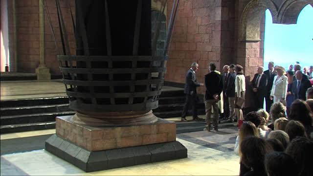 Queen Elizabeth and Prince Philip visit Titanic Studios where parts of Game of Thrones was filmed on June 23 2014 in Belfast Northern Ireland
