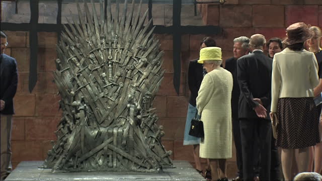 queen elizabeth and prince philip visit titanic studios where parts of game of thrones was filmed on june 23 2014 in belfast northern ireland - elizabeth ii stock videos & royalty-free footage