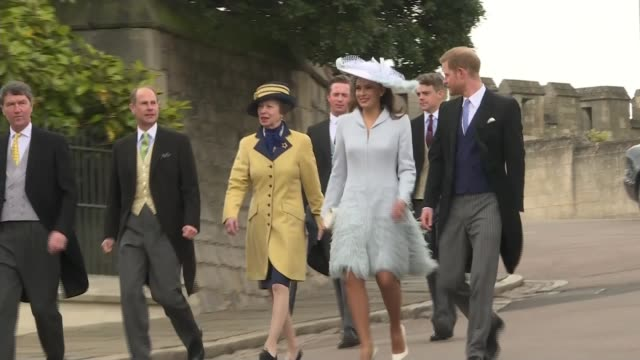 queen elizabeth and royal family attend wedding of lady gabriella windsor; england: berkshire: windsor: ext prince harry, duke of sussex along with... - raw footage stock videos & royalty-free footage